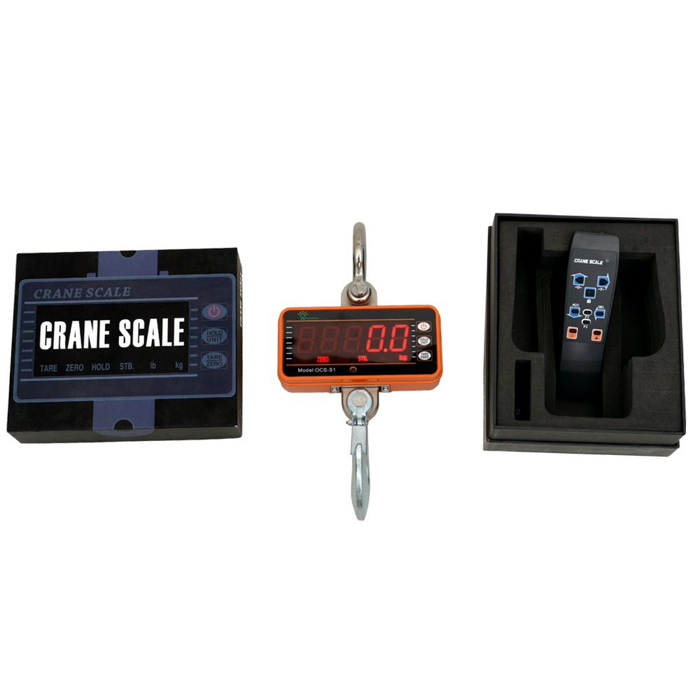 Hyindoor 1000KG Patalla LED Inteligente Báscula Electrónica Digital Portátil con Gancho Resistente Crane Escala Industrial