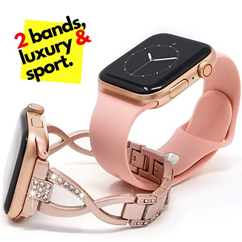 [2 Bands] Luxury Rose Gold Plus Pink Sport Bundle Pack for Women Compatible with Apple Watch 42mm 44mm iwatch Series 4 3 2 1, Soft Silicon and Bling Jewelry Stainless Steel Strap by Sync Elements ()