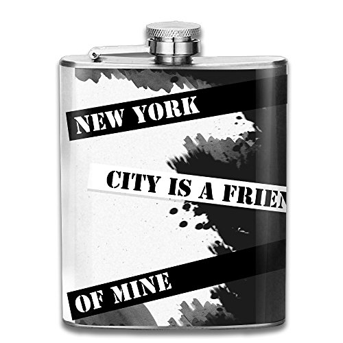 ZHONGJIAN New York City Is A Friend Of Mine Stainless Liquor Flagon Retro Alcohol Pocket Flask With Funnel 7oz 206ml