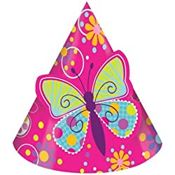 8-Count Birthday Party Hats, Butterfly Sparkle