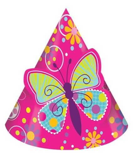 (8-Count Birthday Party Hats, Butterfly)