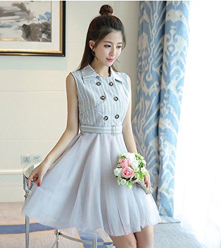 ワンピース ドレス Aライン ワンピース レディース ノースリーブ ストライプ  縞 女性用 春 夏 きれいめ 人気 可愛い ブルー
