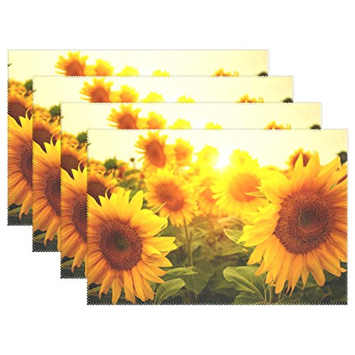 Naanle Sunflower Placemats, Floral Flower Heat-resistant Washable Table Place Mats for Kitchen Dining Table Decoration