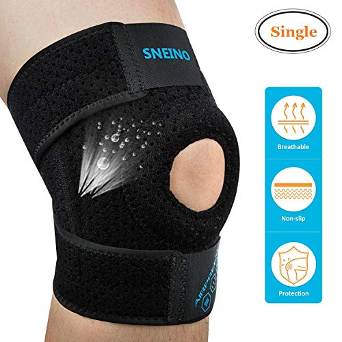 Knee Brace Knee Support SNEINO Knee Brace for Meniscus Tear Breathable Non-Slip Neoprene Knee Brace Adjustable Open Patella Knee Brace Support Knee Braces for Women Men Running Knee Support Brace