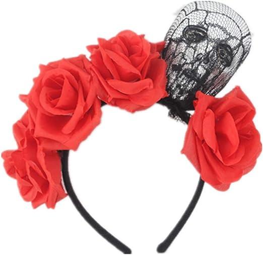 Adulto Niños Halloween Aro de pelo ancho Artificial Rose Flor ...