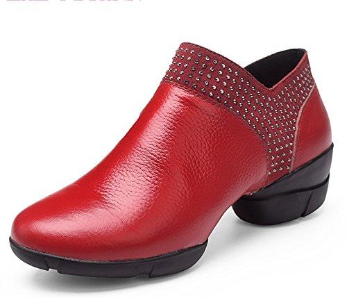 de cordones de baile cordones bailarinas con para con VECJUNIA Zapatillas cuero rojas 6x5Cnnq4