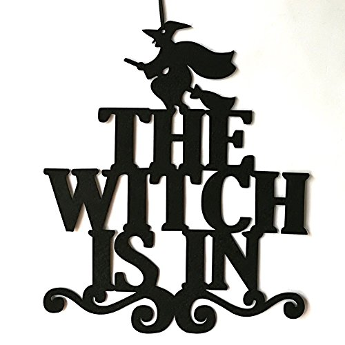 Connoworld The Witch Is In Halloween Party Home Decor Non-Woven Hanging Wall Door Sign]()