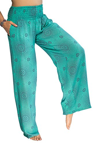 Girls Flower Crop Pant - PIYOGA Women's Boutique Lounge and Yoga Pants, Elastic Waistband and Flare Bottom (One Size fits US W Size 0-12) - Teal Flower of Life
