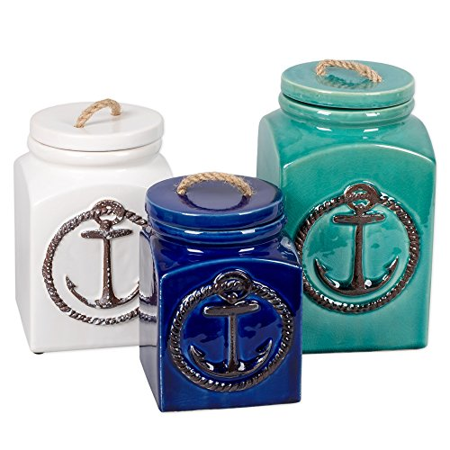 3 Piece Ceramic Nautical Anchor Square Canister Set (Set Kitchen Nautical)