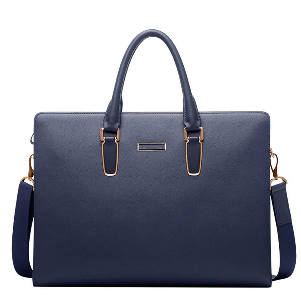 レザーブリーフケース バッグ メンズ ビジネス クラシック オフィス バッグ ショルダーバッグ メッセンジャーバッグ 大容量 ポートフォリオ ブルー 12361  ブルー B07KM3CPBH