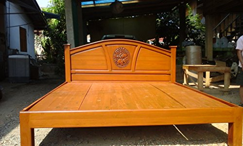 Modern king & queen size carving solid teak wood platform bed frame design with beautiful elephants II details.