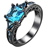 Women Black Gold Plated Square Blue Aquamarine Crystal Cubic Zirconia CZ Hollow Openwork Vintage Ring