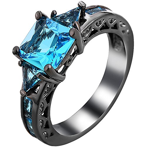 Xahh Women Black Gold Plated Square Blue Aquamarine Cubic Zirconia Vintage Engagement Wedding Ring Size 5 11 Size 5