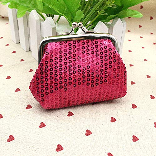 (Purses Kids Wallet Mini Sequin Wallets Small Womens Handbag Coin Purse (Color - RoseRed))