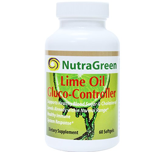 NutraGreen Lime Oil 1000mg Glucose Controller D-Limonene Heartburn Rescue/Esophagus / Blood Sugar/Cholesterol Support, Stress & Anxiety Relief, 60 Softgels