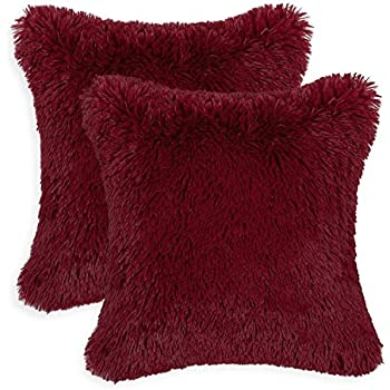 Lovely Pack Of 2 CaliTime Super Soft Throw Pillow Covers Cases For Couch Sofa Bed,  Solid