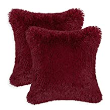 Pack of 2 CaliTime Cushion Covers Pillows Shell Super Soft Plush Faux Fur Bed Sofa Home Burgundy Color 18 X 18 Inches