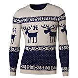 KingField Men's Fashion O-neck Reindeer Printing Casual Long Sleeve Knit Sweater
