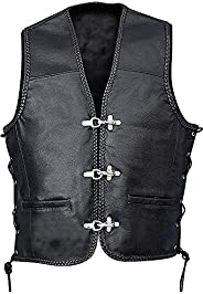 Men's Real Sheepskin Leather Biker Fish Hook Buckle Closure Vest