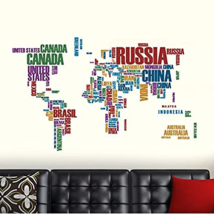 Buy happy walls world map typographic text educational wall happy walls world map typographic text educational wall stickerdecals 6981 gumiabroncs Image collections