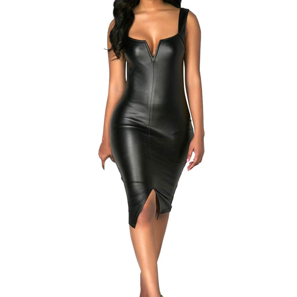 Women's Sexy V Neck Sleeveless Wrap Leather Dresses
