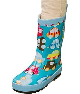 SK Studio Kinder Halbschaft Gummistiefel Jungen Regenstiefel Rutschfest Stiefeletten Mädchen Wasserdicht Schuhe Gelb 34 EU