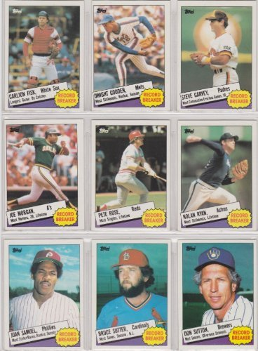1985 Topps Baseball Record Breaker Sub-Set (10 Cards Set) (Carlton Fisk) (Dwight Gooden) (Steve Garvey) (Cliff...
