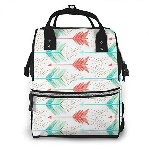 Gkhjlijpgyu Diaper Bag Coral and Teal Arrows Print Travel Bag Backpack Nappy Bags for Baby Care,Stroller Straps,Large Capacity, Stylish and Durable,Waterproof (Teal Arrows Diaper Bag)
