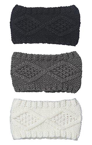 Bertelli 3 Pack Womens Winter Knit Headband & Hairband Ear Warmer (Black-White-Gray)