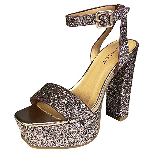 BAMBOO Women's Single Band High Platform Sandal with Ankle Strap, Blush Glitter, 8.5 B (M) US
