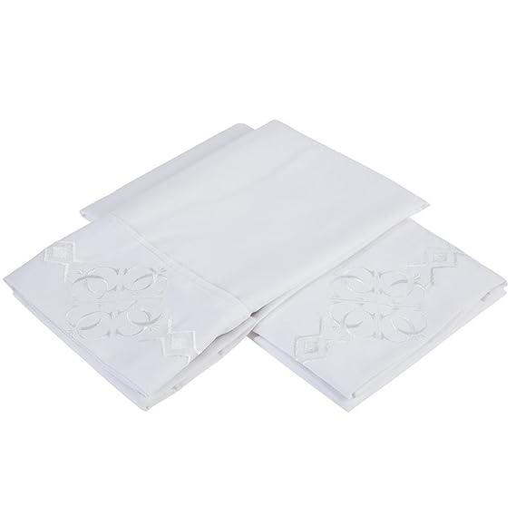 Amazon.com: Último Premier Hoja 1800 Juego de cama - con Majestic Bordado - Queen Size, White: Home & Kitchen