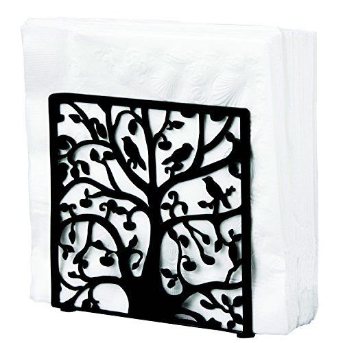 Black Metal Tree & Bird Design Tabletop Napkin Holder / Freestanding Tissue Dispenser