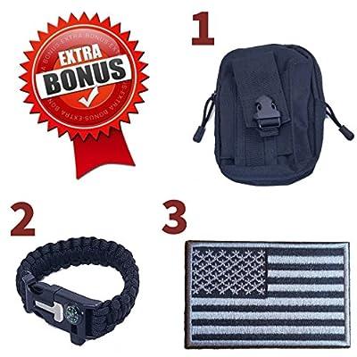 Tactical Shoulder Sling Bag Backpack Bundle - Multifunction Survival Kit for Wilderness & Camping – All-In-One Survival Kit – Includes BONUS Survival Bracelet, MOLLE EDC Waist Pouch, USA morale patch
