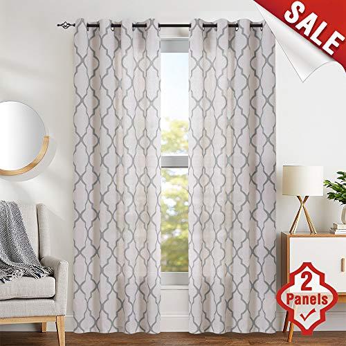jinchan Grey Moroccan Print Curtains for Bedroom- Quatrefoil Flax Linen Blend Textured Geometry Lattice Grommet Window Treatment Set for Living Room - 50