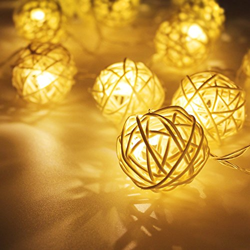 - Battery Powered Rattan Ball LED Decorative String Light, 2 Work Modes Battery Box, 10ft Length 20 Balls, Warm White for Christmas, Holiday, Party, Event Decorative Lighting