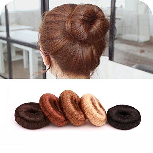 Red Donut - Hair Ring Styler Maker Creator Hot Wig Hair Donut Bun Maker Updo Scrunchie Chignon Bridal Hairpiece Bun Round Chignon for Women Lady Girls (Red Brown)