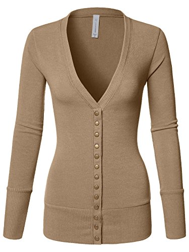 Luna Flower Women's Cardigan Sweater Snap Button V-Neck with Cuff Rib Detail Heather_Beige Small (GCDW027)