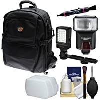 Aktiv Pak AP400 Digital SLR Camera Backpack Case (Black) with Flash + Diffuser + Video Light + Kit