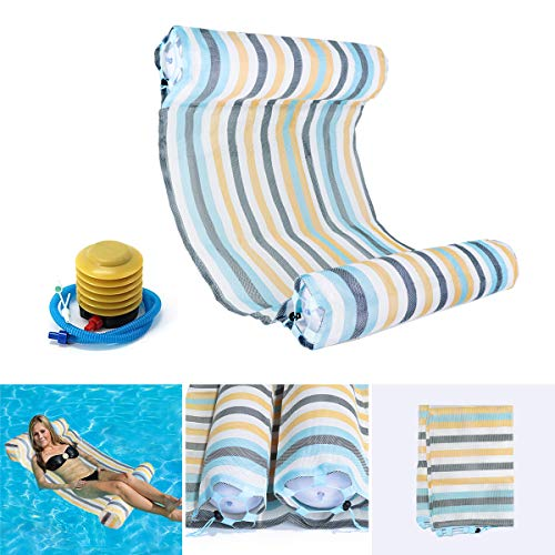 OUTERDO Water Hammock Lounger, Comfortable Pool Lounger,Lightweight Swimming Hammock,Fabric Pool Float Hammock,Summer Swimming Floating Mat,Sturdy and Quality Water Hammock-Colorful