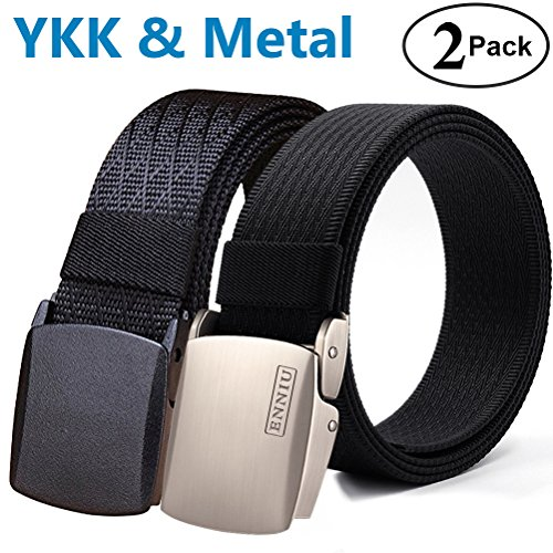 Fairwin Tactical Belt, Nylon Military Style Web Riggers Belt with Metal Buckle for Casual Outdoor (2 Pack)