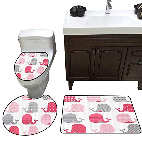 3 Piece Toilet mat Set Whale Decor Cute Patterned Whales Design Perfect for Baby and Toddler Rooms Printed Rug Set Pink Grey and Light Pink ()