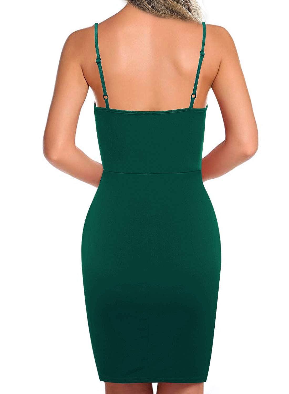 912a06b982 Seanrui Womens Sexy Adjustable Spaghetti Straps V Neck Front Slit Bodycon  Party Club Mini Dress at Amazon Women s Clothing store