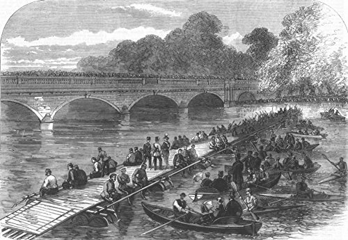 LONDON. Engineers making Barrel Bridge, Serpentine - 1867 - old antique vintage print - engraving art picture prints of London Militaria - Illustrated London News