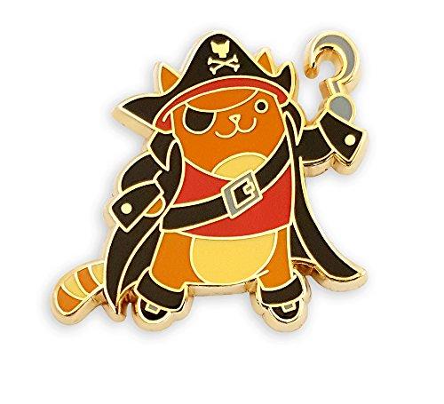 Pinsanity Pirate Cat Enamel Lapel Pin