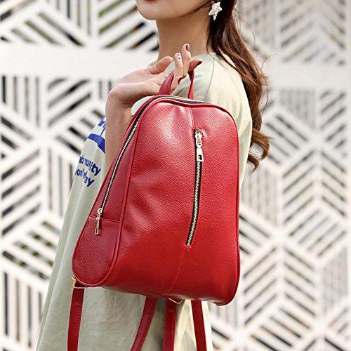 hombro la de buen Bolsos rojo Mochila Mochilas Travistar cremallera de de muy PU cuero las mujeres Widewing con bolsa Casual Mujer de gusto de marrón estudiantes simples de xnA1zzSPw