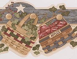 Apples Greenery Nests Baskets Stars Kitchen Wallpaper Border Vintage  Design, Roll 15u0027 X 6.2 ...