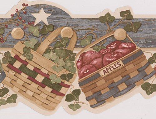 Apples Greenery Nests Baskets Stars Kitchen Wallpaper Border Vintage Design, Roll 15' x 6.2''