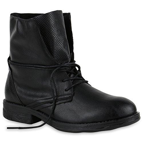 Stiefelparadies Damen Schnürstiefeletten mit Blockabsatz Basic Flandell Schwarz Metallic