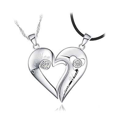 zirconia dp cubic for amazon com silver pendant heart sterling half necklace women