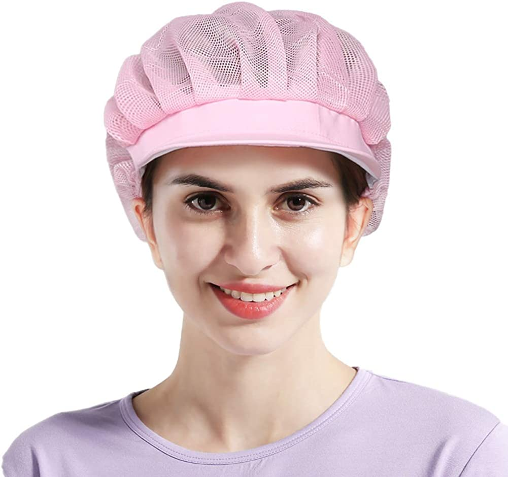 3pcs Chef Hat Adjustable Elastic Breathable Mesh Work Cap Beanie for Kitchen Cooking Service and Other Work